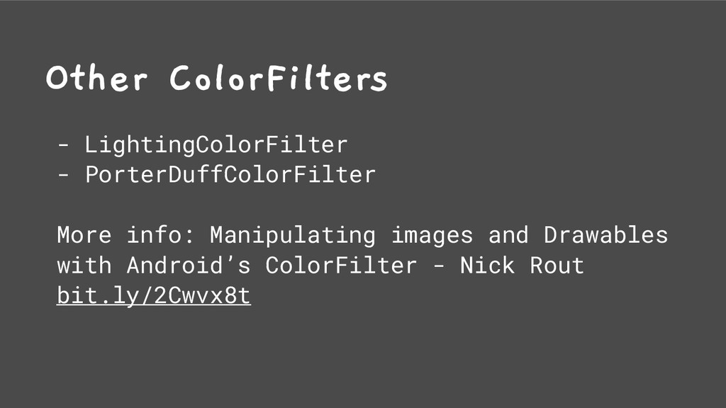 Other ColorFilters - LightingColorFilter - Port...