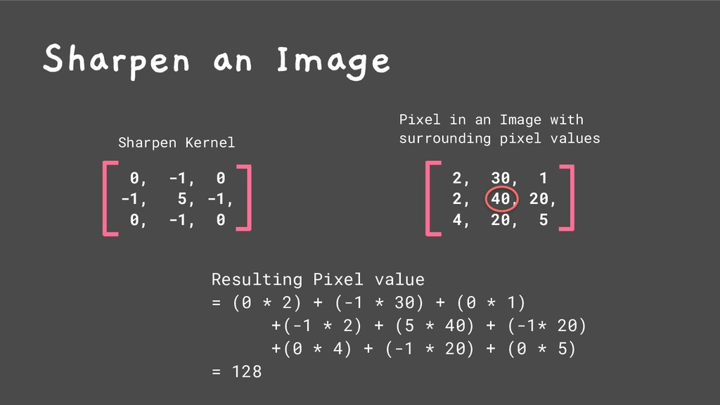 0, -1, 0 -1, 5, -1, 0, -1, 0 Sharpen an Image S...