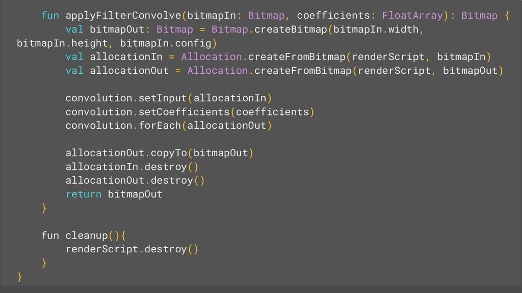 fun applyFilterConvolve(bitmapIn: Bitmap, coeff...