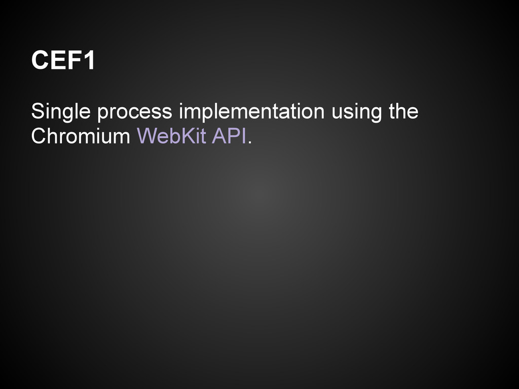 CEF1 Single process implementation using the Ch...