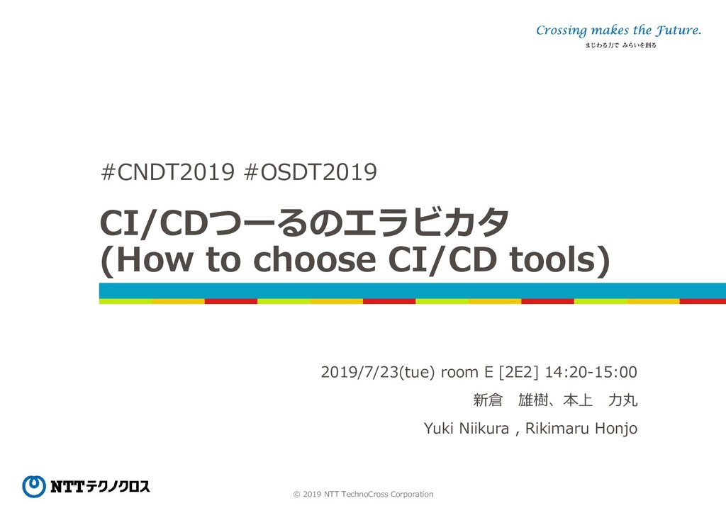 © 2019 NTT TechnoCross Corporation CI/CDつーるのエラビ...