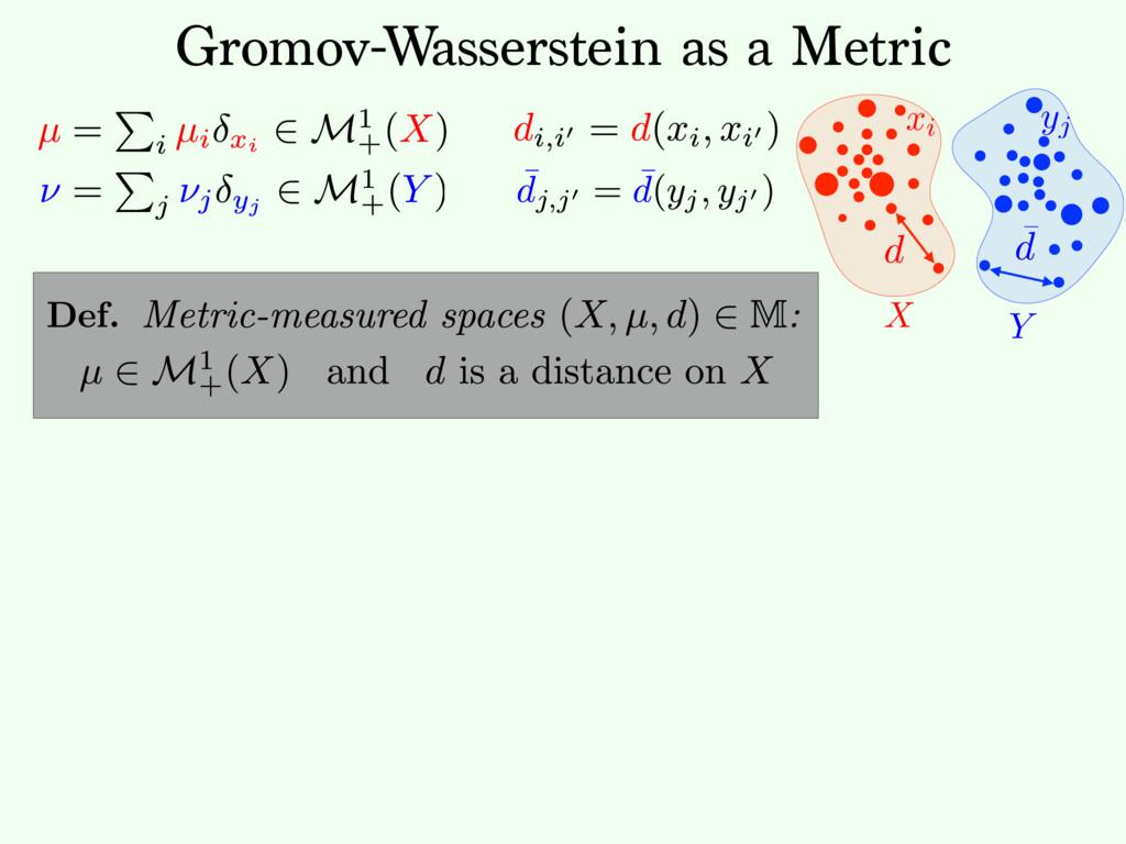 Y xi X Gromov-Wasserstein as a Metric yj Def.