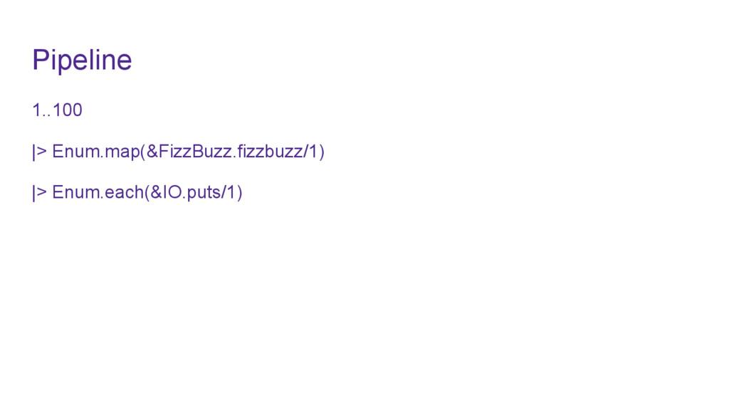 Pipeline 1..100 |> Enum.map(&FizzBuzz.fizzbuzz/...