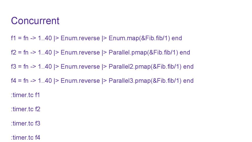 Concurrent f1 = fn -> 1..40 |> Enum.reverse |> ...