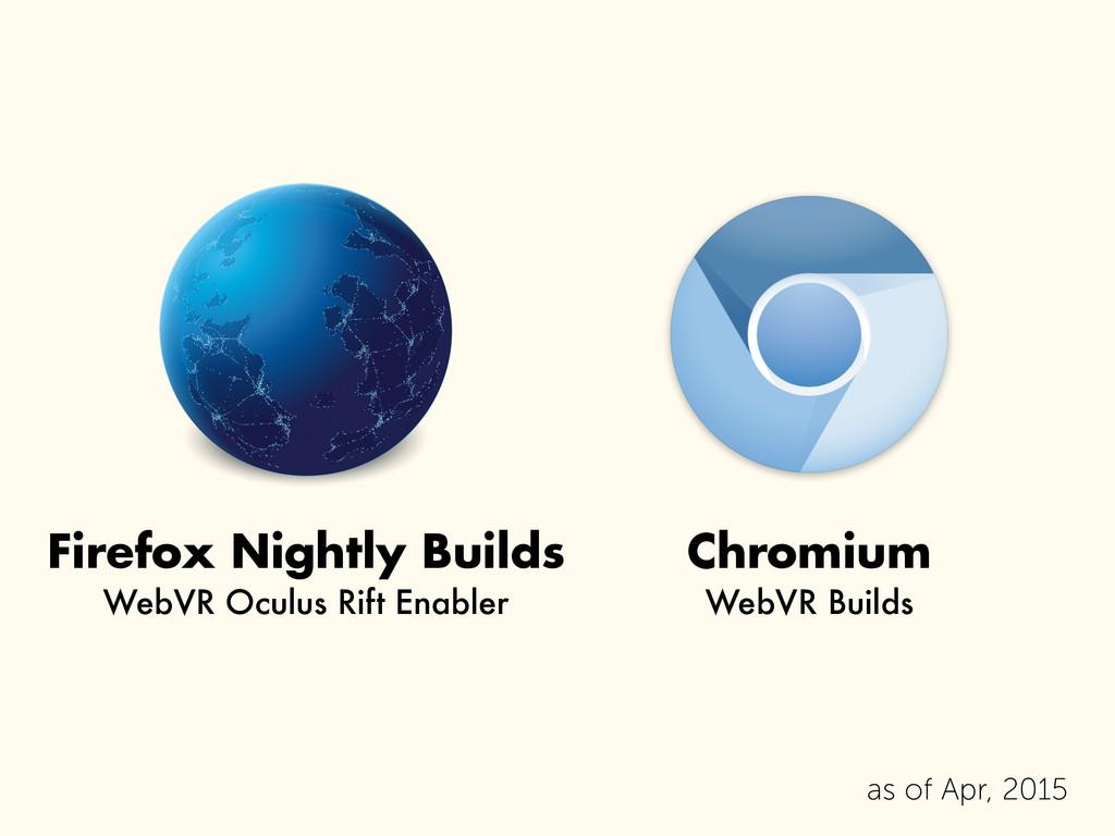 Chromium WebVR Builds Firefox Nightly Builds We...