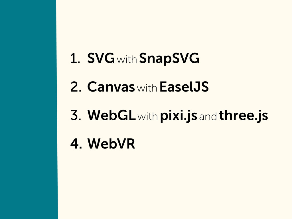 1. SVG with SnapSVG 2. Canvas with EaselJS 3. W...