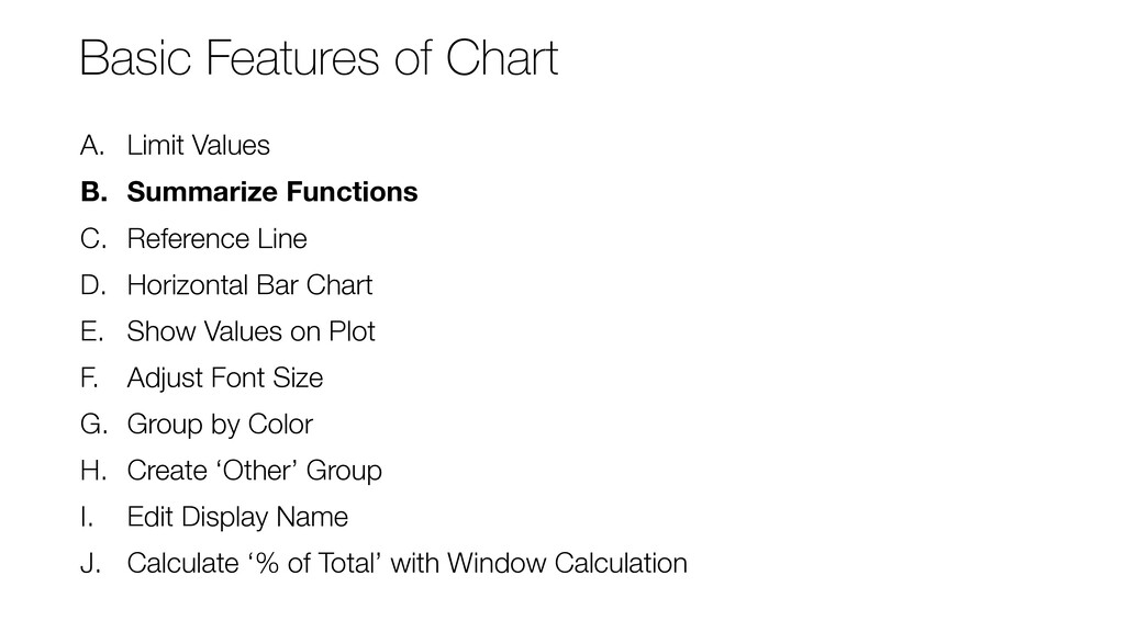 A. Limit Values B. Summarize Functions C. Refer...