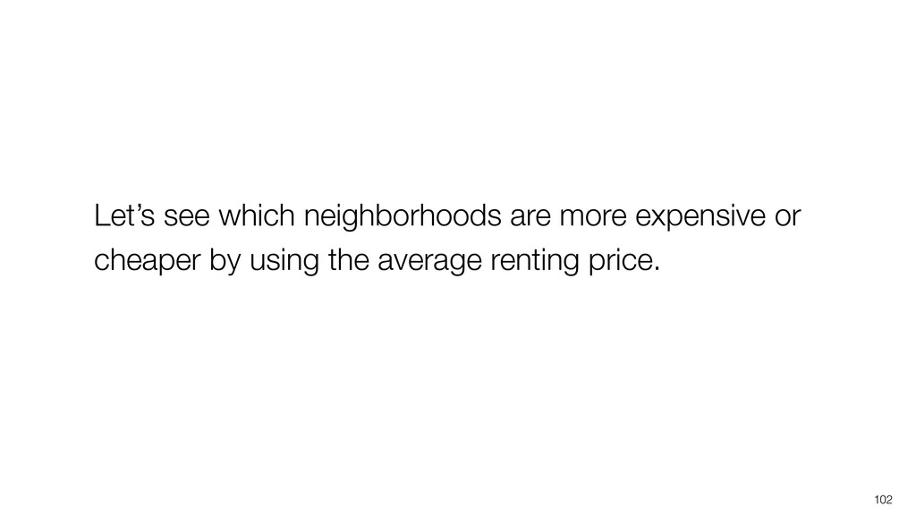 102 Let's see which neighborhoods are more expe...