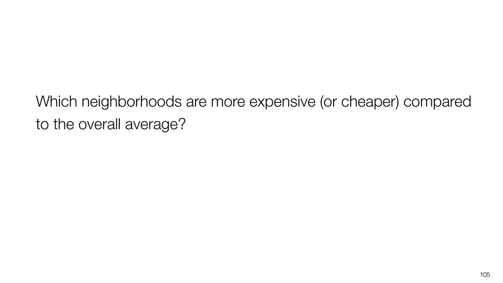 105 Which neighborhoods are more expensive (or ...