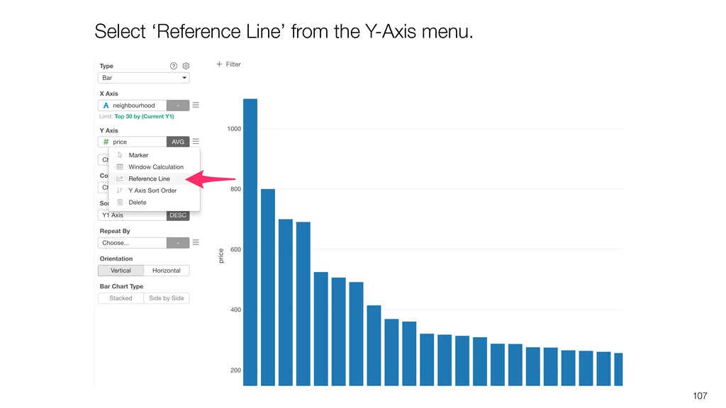 107 Select 'Reference Line' from the Y-Axis men...