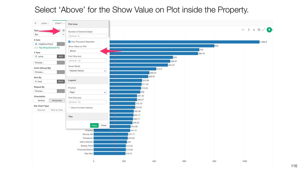 116 Select 'Above' for the Show Value on Plot i...