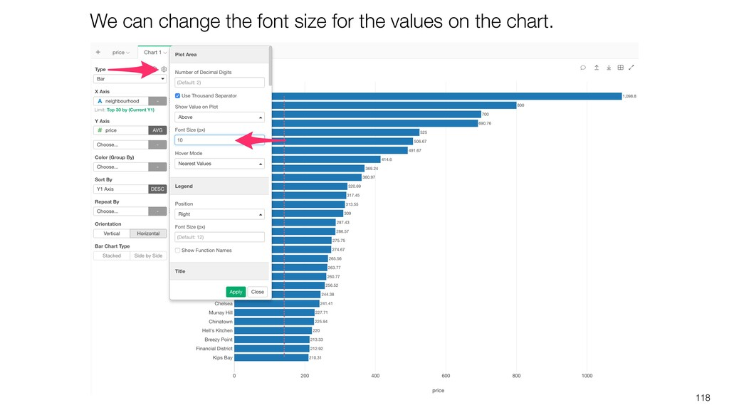 118 We can change the font size for the values ...
