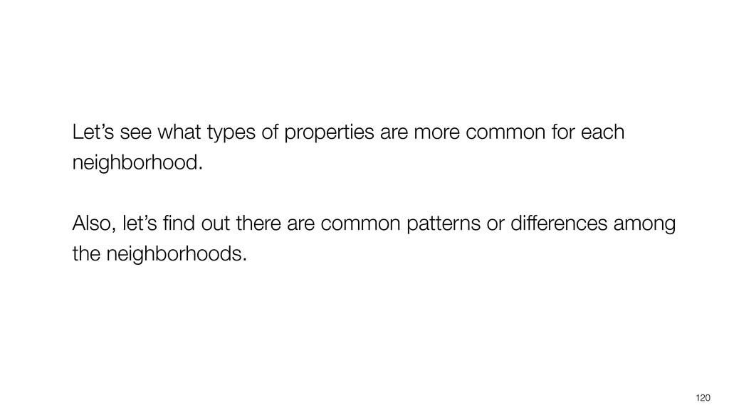 120 Let's see what types of properties are more...