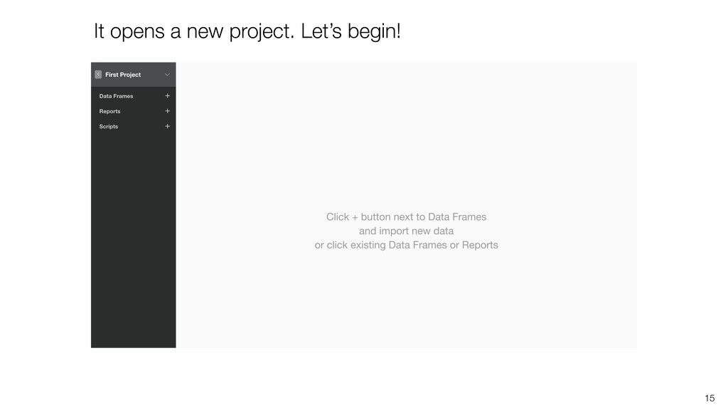 It opens a new project. Let's begin! 15