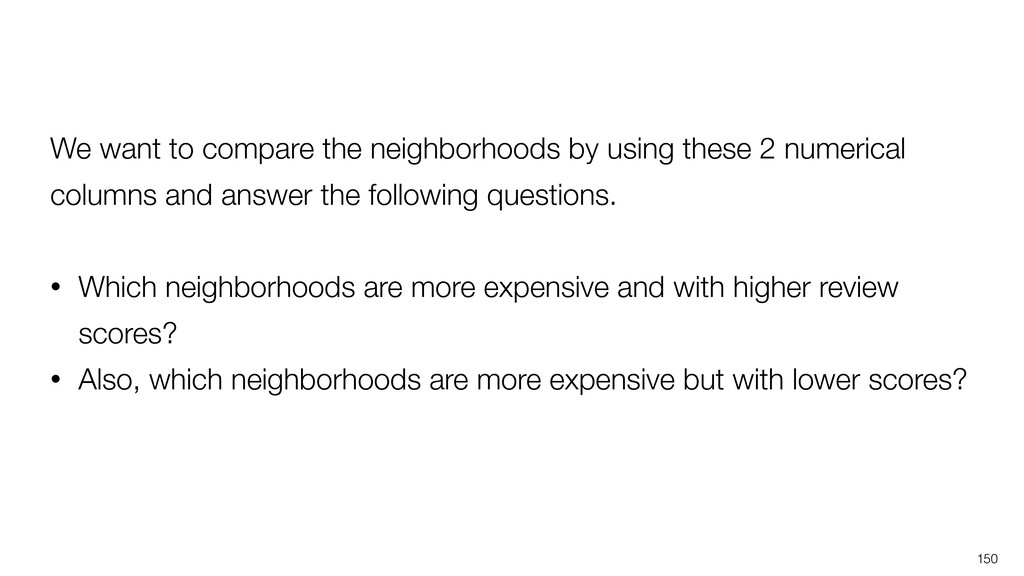 150 We want to compare the neighborhoods by usi...