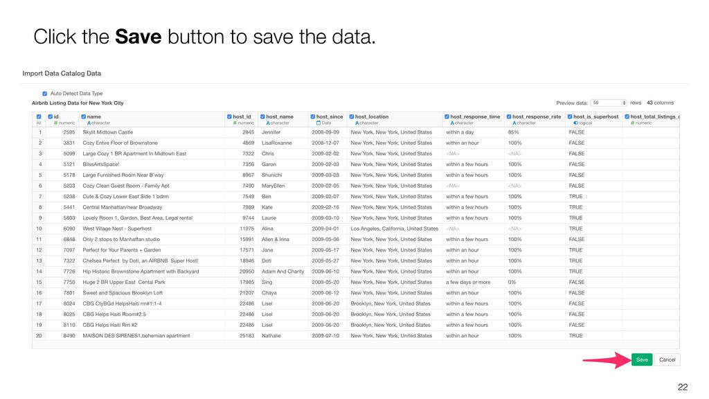 22 Click the Save button to save the data.