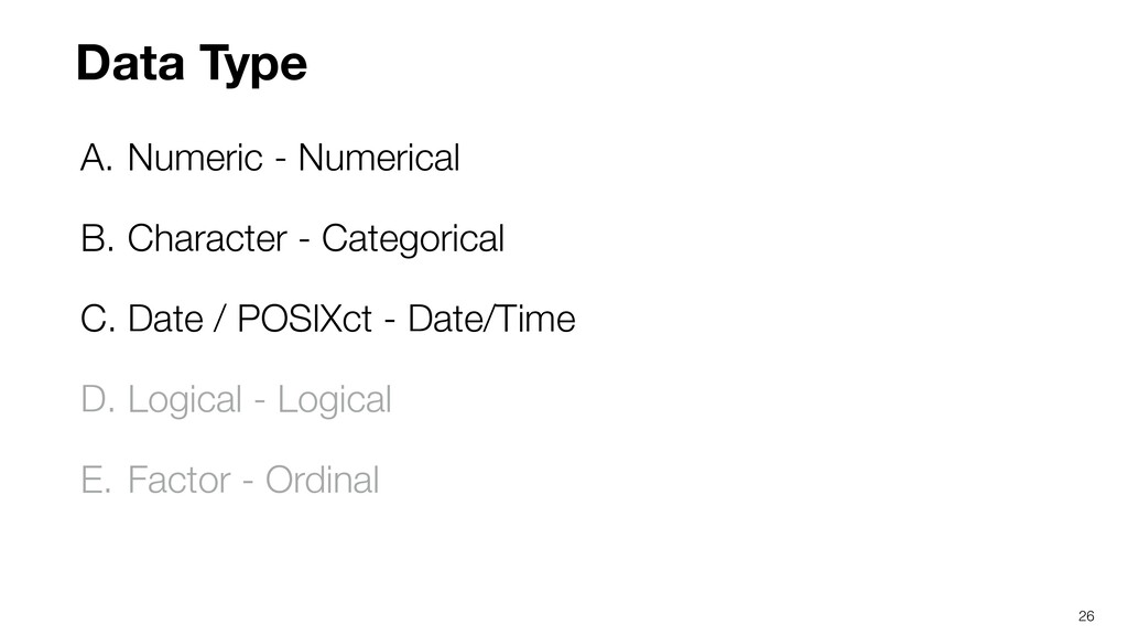 A. Numeric - Numerical B. Character - Categoric...