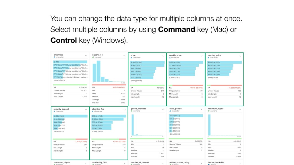 You can change the data type for multiple colum...