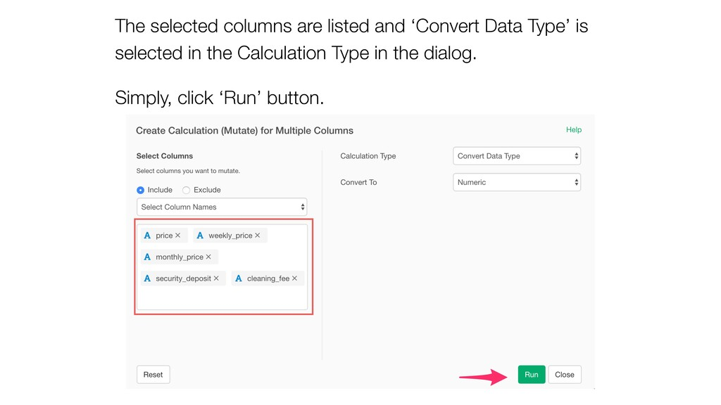 The selected columns are listed and 'Convert Da...