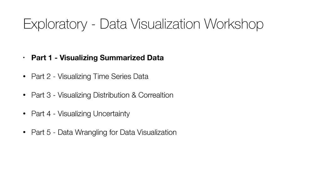 • Part 1 - Visualizing Summarized Data • Part 2...