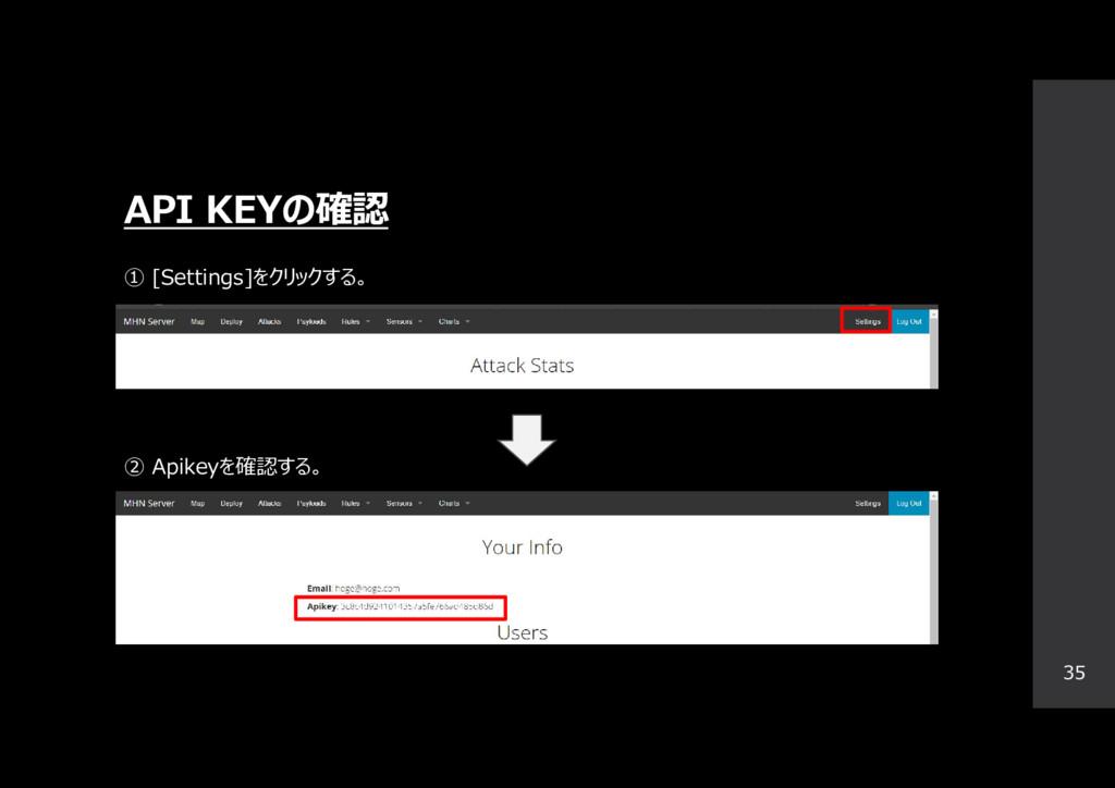 API KEYの確認 35 ① [Settings]をクリックする。 ② Apikeyを確認す...