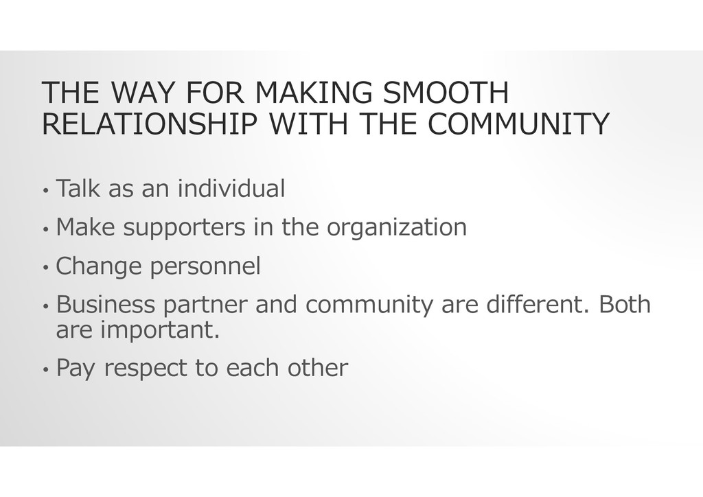 THE WAY FOR MAKING SMOOTH RELATIONSHIP WITH THE...