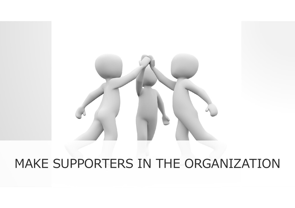 MAKE SUPPORTERS IN THE ORGANIZATION