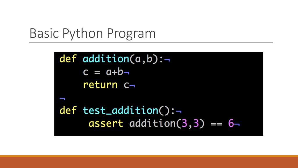 Basic Python Program