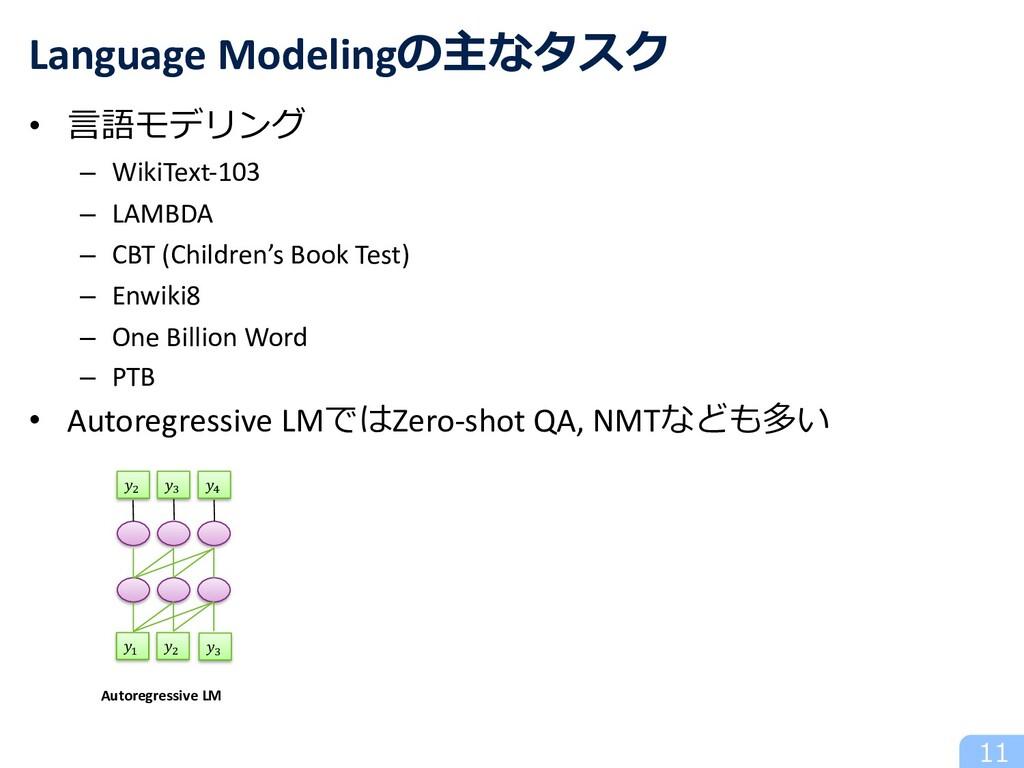 • ⾔語モデリング – WikiText-103 – LAMBDA – CBT (Childr...
