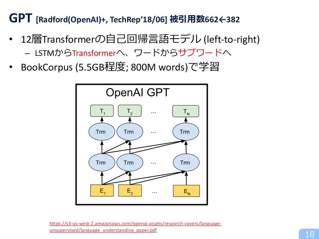 • 12層Transformerの⾃⼰回帰⾔語モデル (left-to-right) – LS...