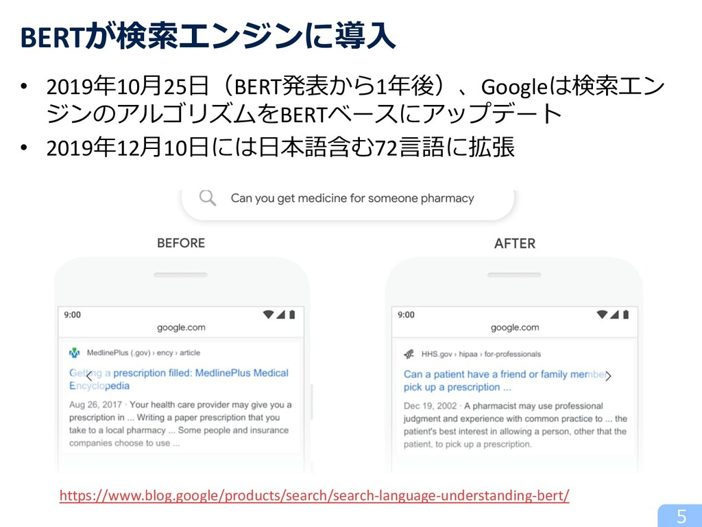 5 BERTが検索エンジンに導⼊ https://www.blog.google/produc...