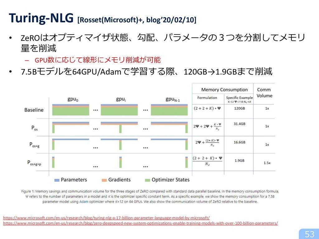 • ZeROはオプティマイザ状態、勾配、パラメータの3つを分割してメモリ 量を削減 – GPU...