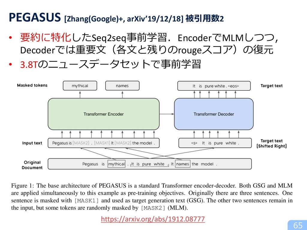 65 PEGASUS [Zhang(Google)+, arXiv'19/12/18] 被引⽤...
