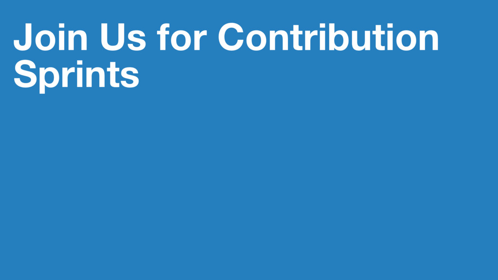 Join Us for Contribution Sprints
