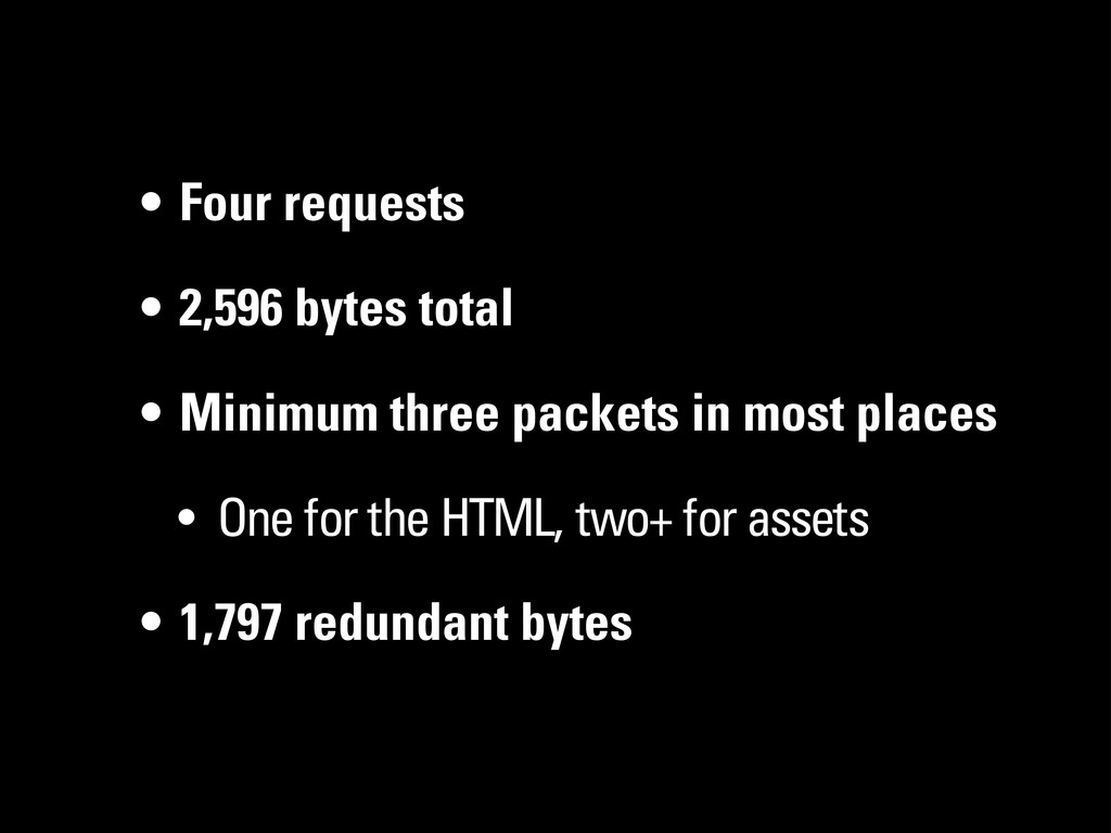 • Four requests • 2,596 bytes total • Minimum t...