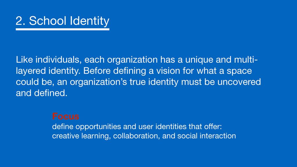 2. School Identity Like individuals, each organ...
