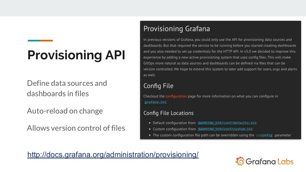 Provisioning API Define data sources and dashbo...