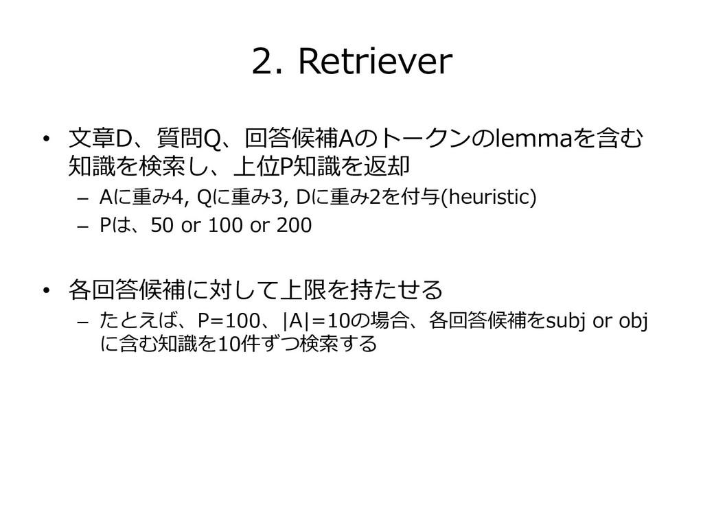 2. Retriever • 文章D、質問Q、回答候補Aのトークンのlemmaを含む 知識を検...