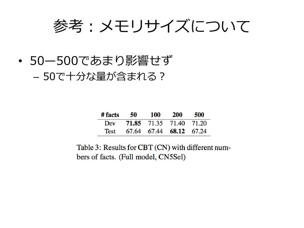 参考:メモリサイズについて • 50—500であまり影響せず – 50で十分な量が含まれる?