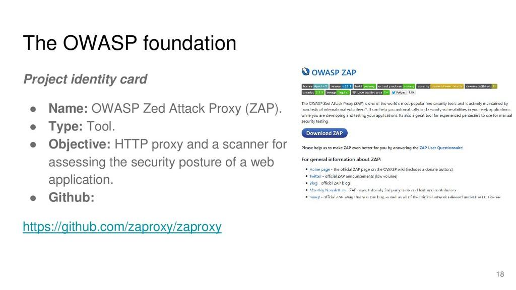 The OWASP foundation Project identity card ● Na...