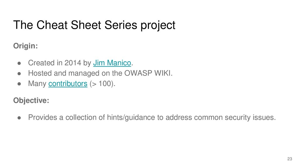 The Cheat Sheet Series project Origin: ● Create...