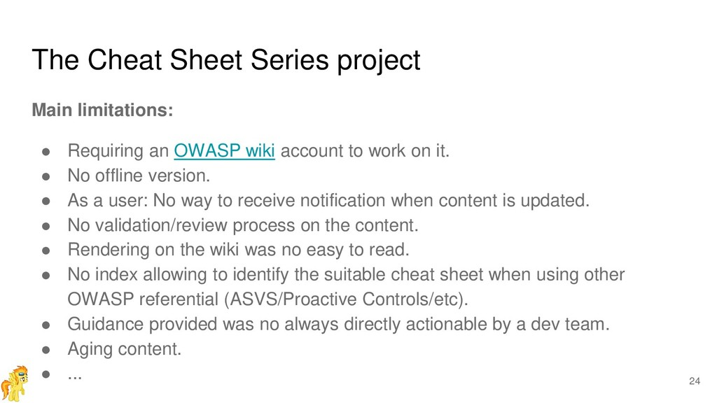 The Cheat Sheet Series project Main limitations...