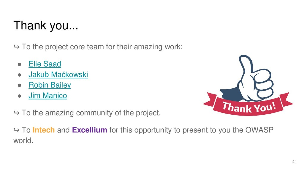 Thank you... ↪ To the project core team for the...