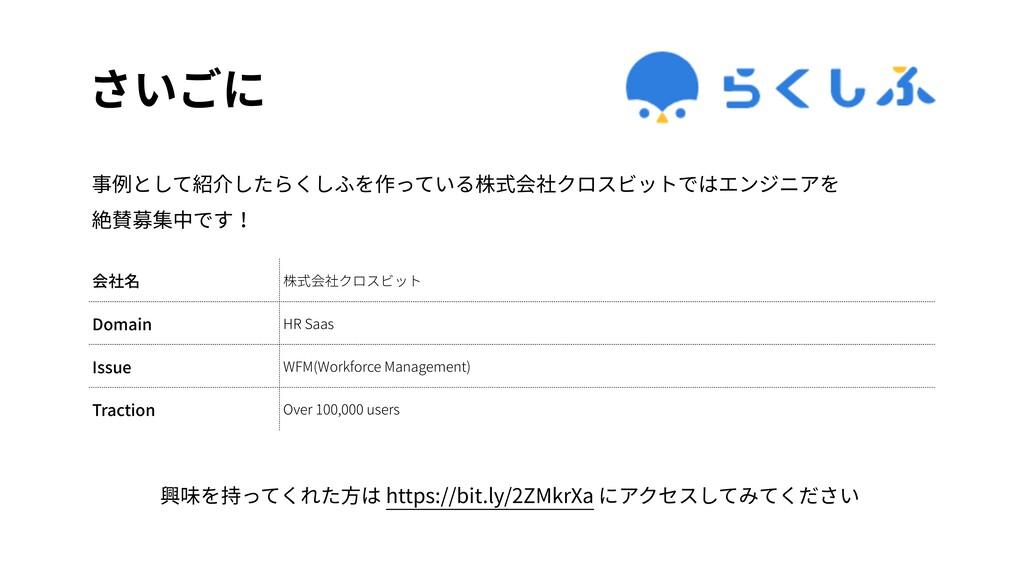 さいごに 会社名 株式会社クロスビット Domain HR Saas Issue WFM(Wo...