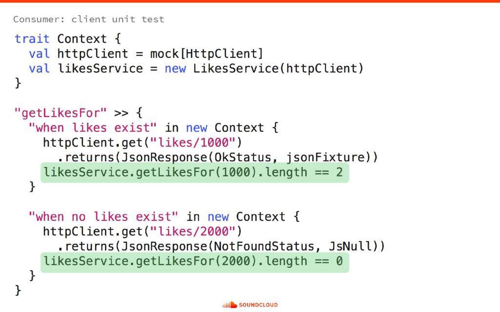 Consumer: client unit test