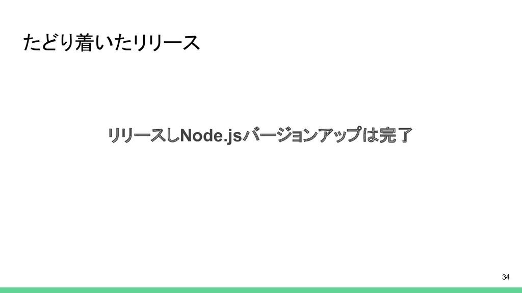 たどり着いたリリース リリースしNode.jsバージョンアップは完了 34