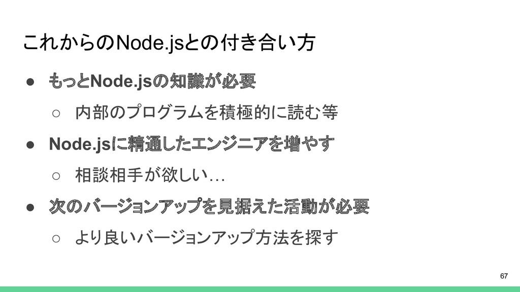 これからのNode.jsとの付き合い方 ● もっとNode.jsの知識が必要 ○ 内部のプログ...