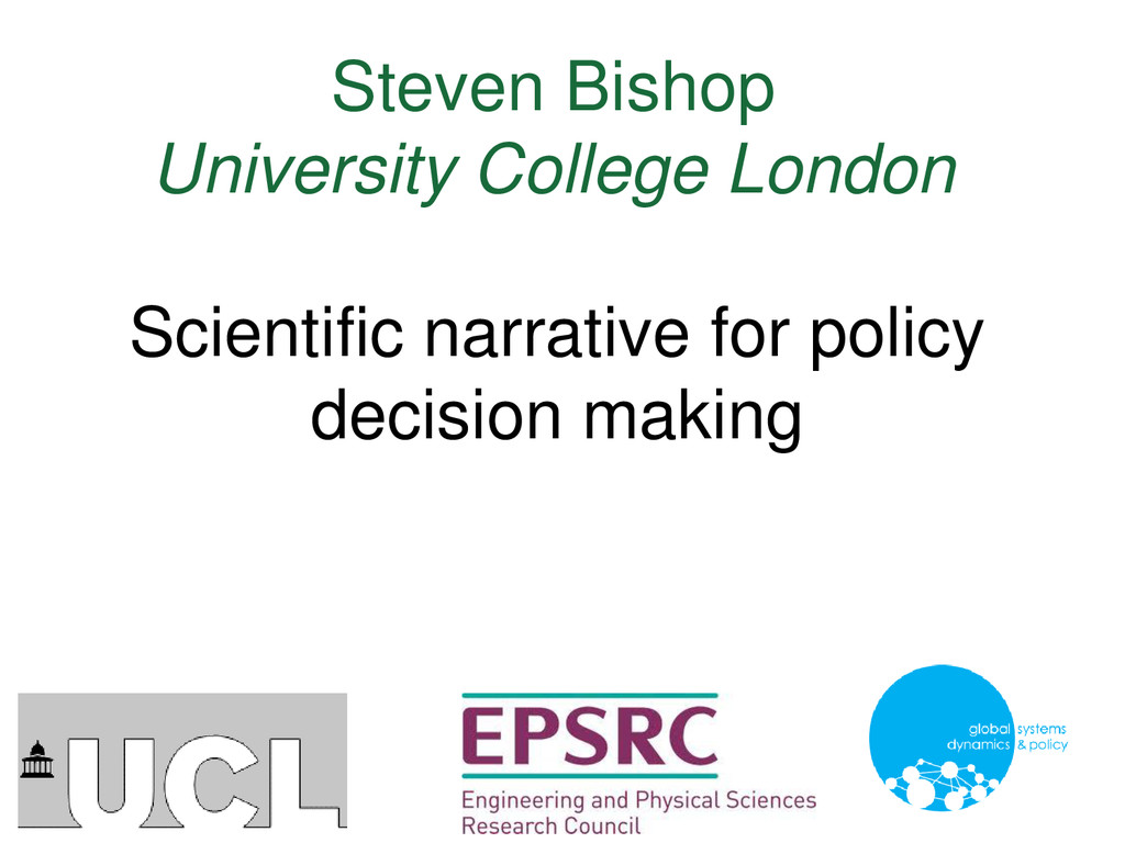 Steven Bishop University College London Scienti...
