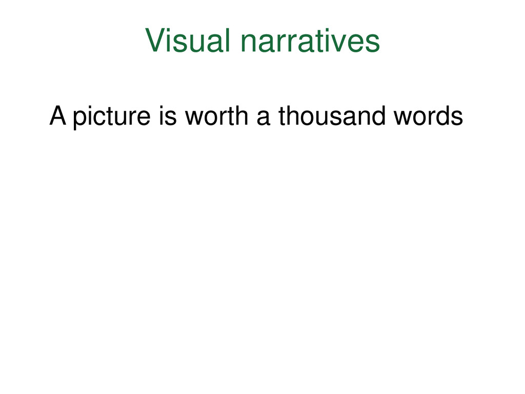 Visual narratives A picture is worth a thousand...