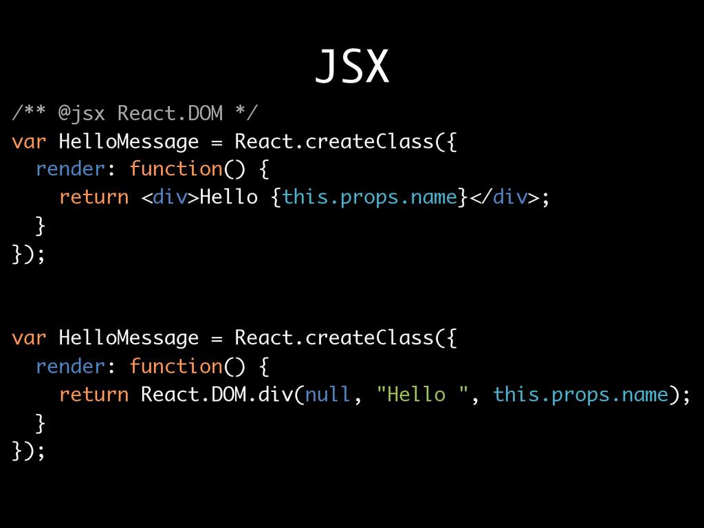 JSX /** @jsx React.DOM */ var HelloMessage = Re...